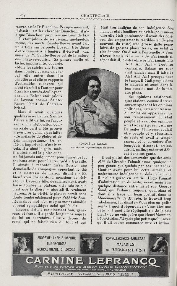 Honoré de Balzac - Chanteclair -  - medchanteclx1929x19x0026