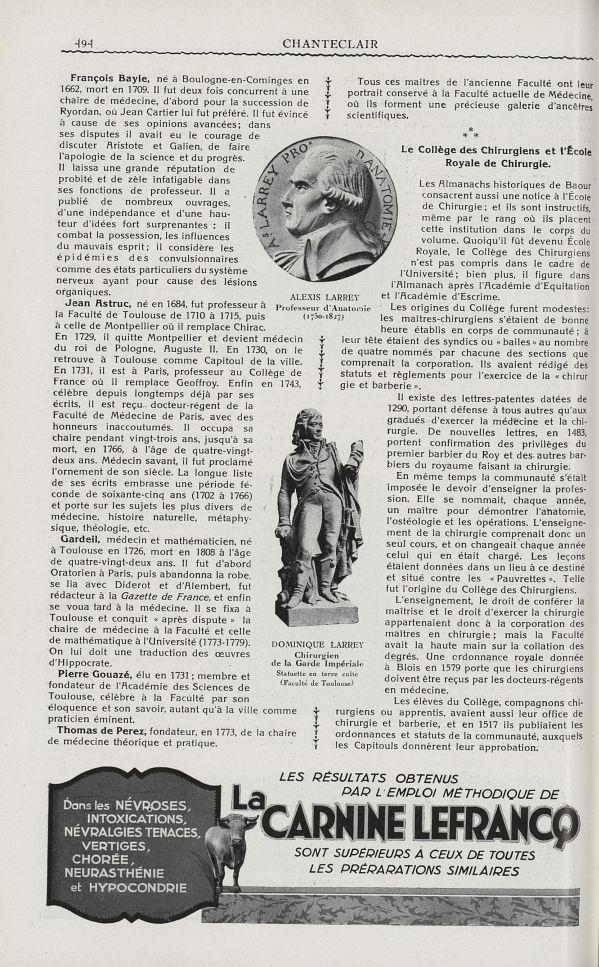 Alexis Larrey. Professeur d'anatomie (1750-1827) / Dominique Larrey. Chirurgien de la garde impérial [...] -  - medchanteclx1929x19x0036