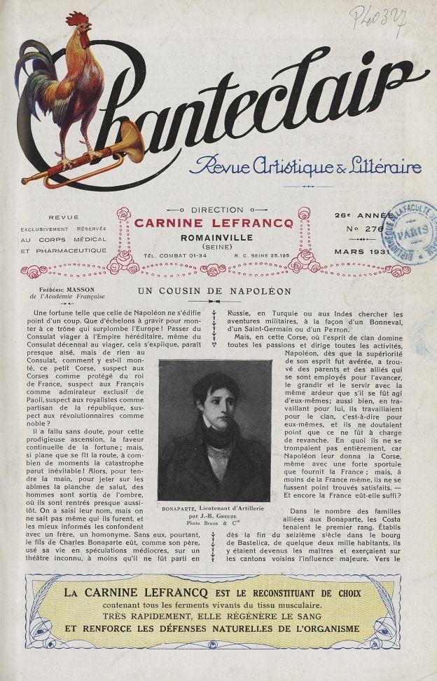 Bonaparte, lieutenant d'artillerie (J.-B. Greuze) - Chanteclair -  - medchanteclx1931x21x0017