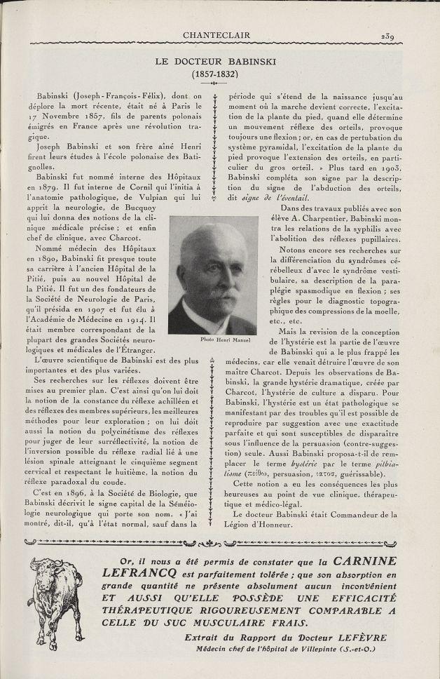 Le Docteur Babinski - Chanteclair -  - medchanteclx1933x23x0007