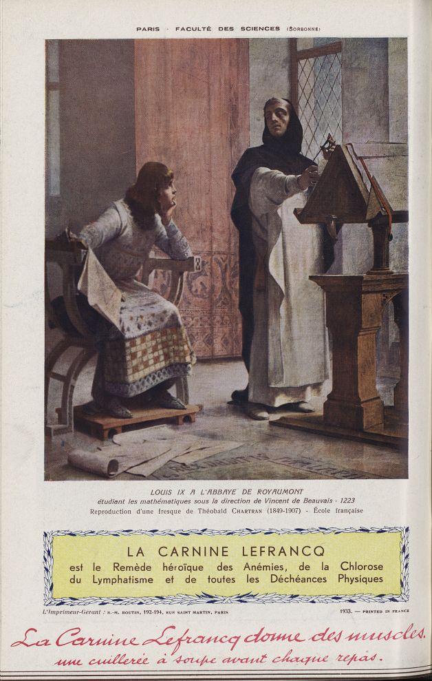 Louis IX à l'Abbaye de Royaumont étudiant les mathématiques sous la direction de Vincent de Beauvais [...] -  - medchanteclx1933x23x0032