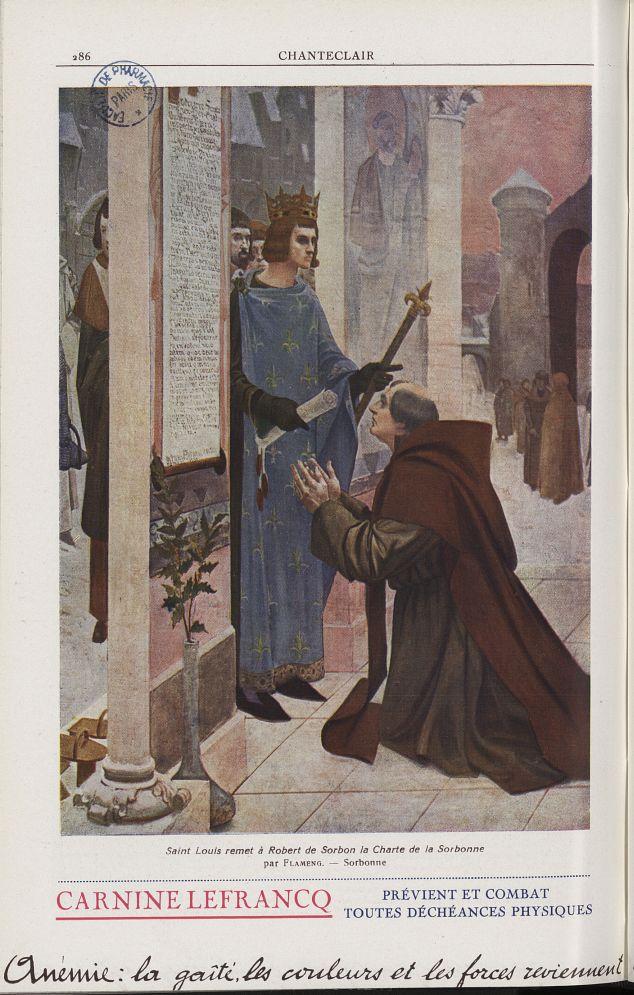 Saint Louis remet à Robert de Sorbon la Charte de la Sorbonne (Flameng) - Chanteclair -  - medchanteclx1934x24x0006