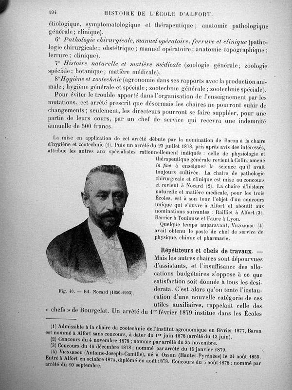 Fig. 40. Ed. Nocard (1850-1903) - Histoire de l'École d'Alfort, par MM. A. Railliet,... et L. Moulé, [...] -  - medextalfo00015x0211
