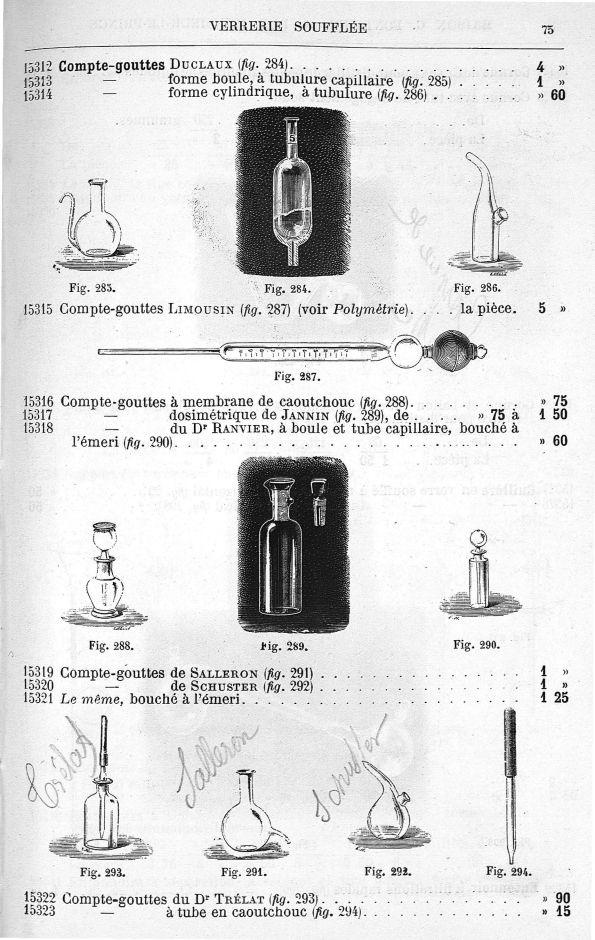 Compte-gouttes Duclaux. Compte-gouttes forme boule, à tubulure capillaire. Compte-gouttes forme cyli [...] - Instruments - medextaphpin002x0079