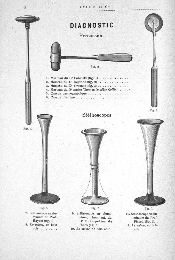 Diagnostic. Percussion. 1. Marteau du Dr Babinski (fig. 1). 2. Marteau du Dr Dejérine (fig. 2). 3. M [...] - Appareils et instruments. Catalogues. 20e siècle - medextaphpin006x0004