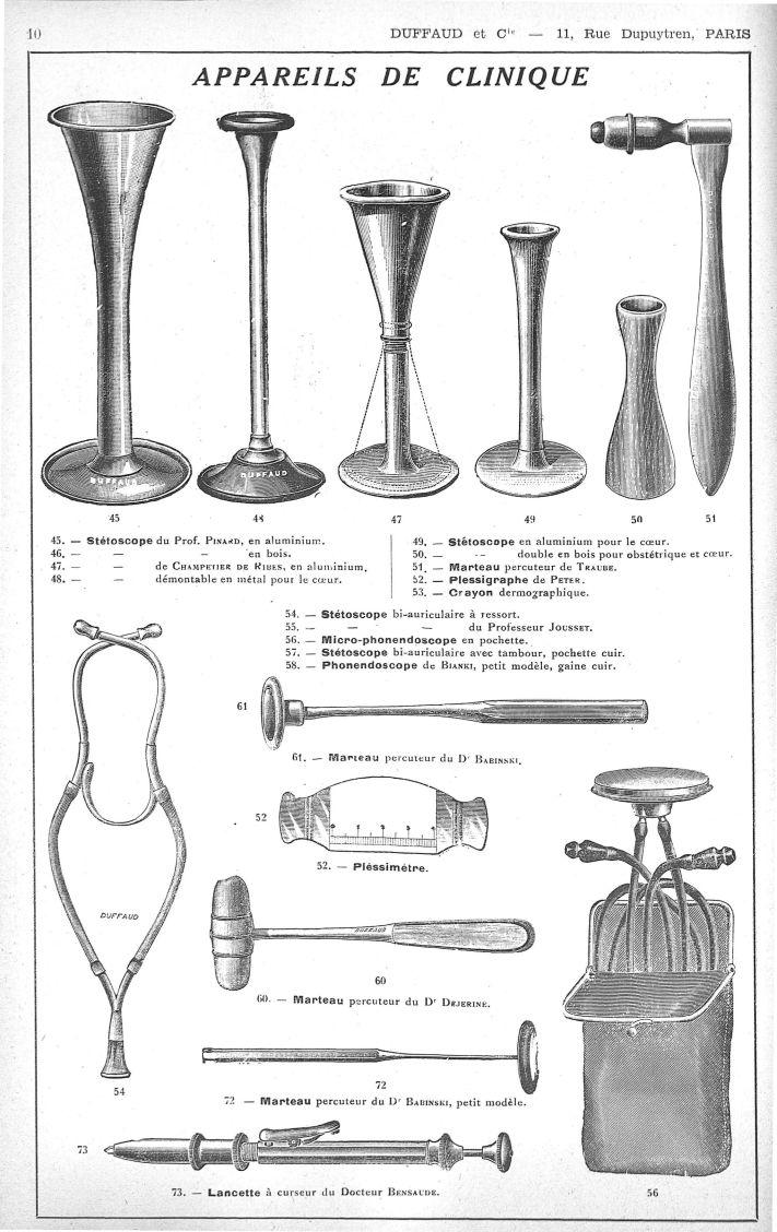 45. Stéthoscope du Pr Pinard, en aluminium. 47. Stéthoscope de Champetier de Ribes, en aluminium. 48 [...] -  - medextaphpin007x0012