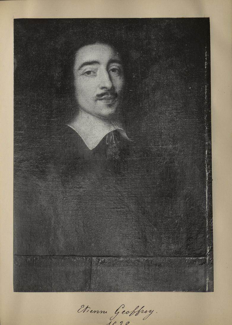 [Portrait de la salle des Actes] Etienne Geoffroy 1638 - Album de platinotypies. Tableaux de la sall [...] -  - medextcnop0003x0032