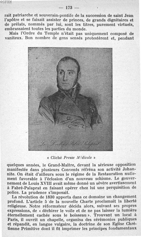 Le docteur Fabre-Palaprat - Mémoires de la Société française d'histoire de la médecine et de ses fil [...] - Médecins. 18e siècle, 19e siècle (France) - medmsfhmx1947x0175