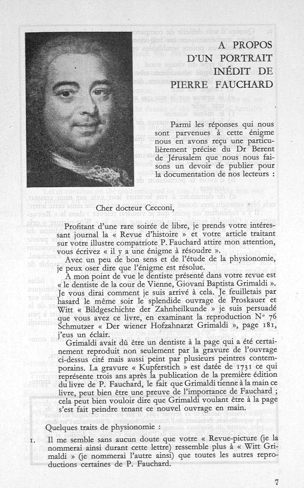 Pierre Fauchard - Revue d'histoire de l'art dentaire -  - medpf114x1963x02x0009