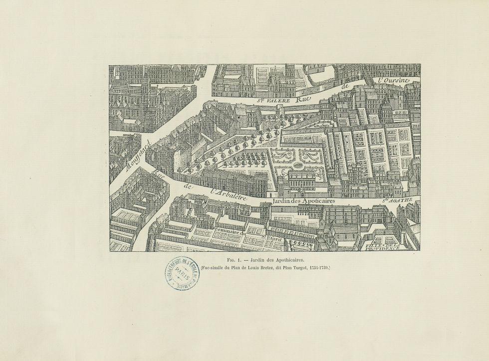[Gravure :] Fig. 1 : Jardin des apothicaires (Fac-Simile du Plan de Louis Bretez; dit Plan Turgot, 1 [...] -  - medpharma_006465x0049