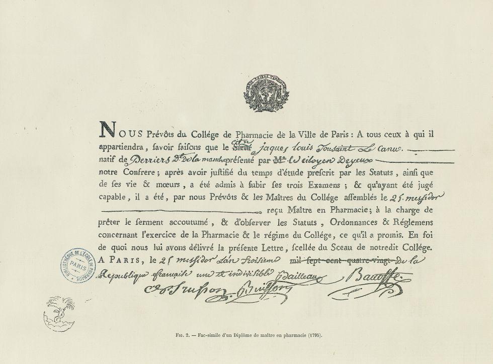 Fig. 2 : Fac-simile d'un diplôme de maître en pharmacie (1795) - Centenaire de l'École supérieure de [...] -  - medpharma_006465x0058