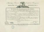 Fig. 4 : Fac-simile d'un diplôme de Pharmacien (1805) - Centenaire de l'École supérieure de pharmaci [...]