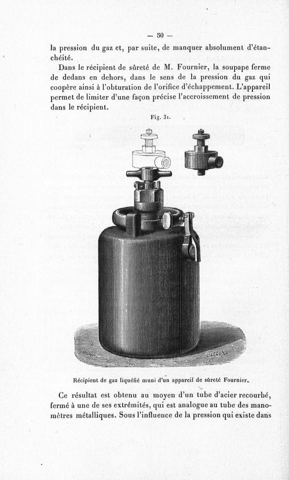 Fig. 31. Récipient de gaz liquéfié muni d'un appareil de sûreté Fournier - Sur la liquéfaction des g [...] -  - medpharma_p30908x1899x01x0056