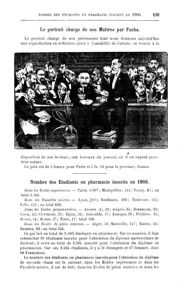 Le portrait-charge de nos maîtres par Fuchs - Bulletin des sciences pharmacologiques : organe scient [...] -  - medpharma_p31249x1907x1402x0259