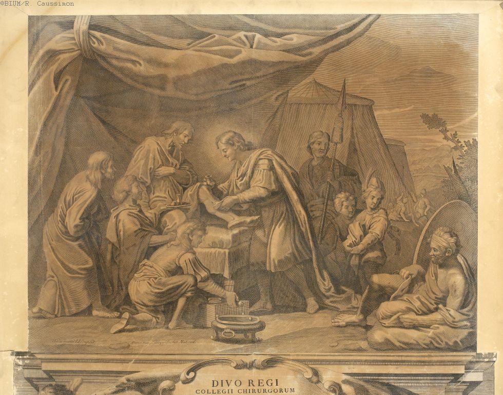 Le Roi Saint-Louis pansant un blessé - Pansements et bandages. Rois et souverains. Malades. Moyen Age, 13e siècle, 18e siècle (France) - medtima316xtima316d