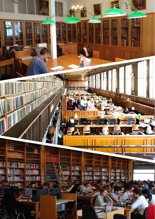 BIU Santé Médecine: salle de la Réserve et grande salle de lecture. BIU Santé Pharmacie: salle Dorveaux.